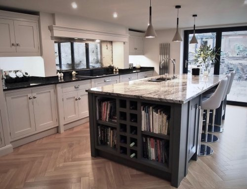 Cosmic White Granite Island complemented by Nero Impala  Granite in Cheshire    Call our team now on 01244 730 700  Send us a Facebook Messa…