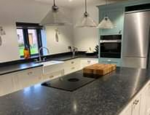 30mm Steel Grey Honed Granite recently fitted in Chester