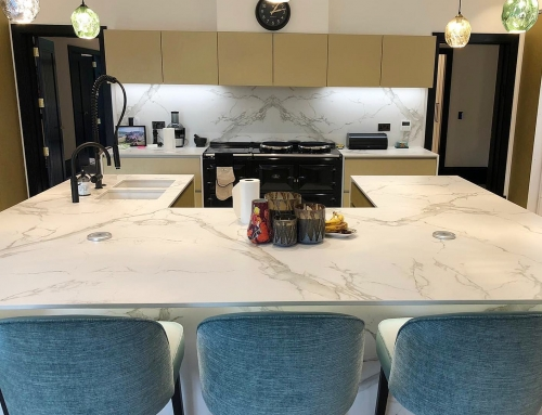 Bookmatched Dekton Aura island, complete with Mitred End Panels and bookmatched splashback @ Altrincham