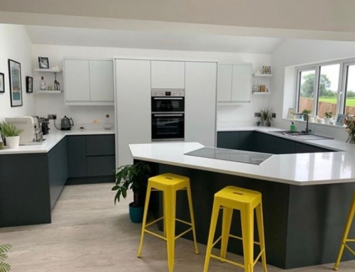 Beautiful kitchen complete with 30mm Arctic Shimmer Quartz  We love the addition of the yellow stools for a pop of colour